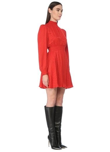 NetWork Kadın 1077393 Slim Fit Yazı Jakarlı Mini Elbise Kırmızı